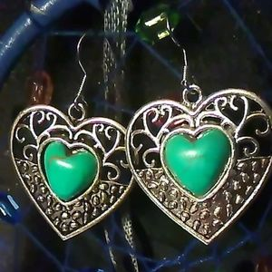 Tibetan Silver Heart Shape Turquoise Drop Earring